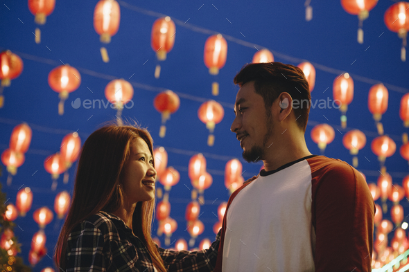 Asian couple at Chinese fastival - Stock Photo - Images