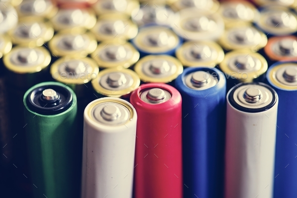 Various of alkaline battery background - Stock Photo - Images