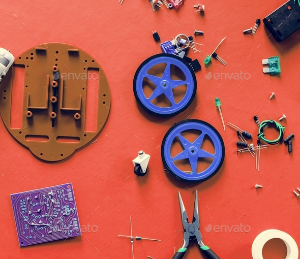 Electronic toy component isolated on background - Stock Photo - Images