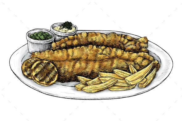 Hand drawn fish and chips - Stock Photo - Images