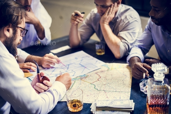 Group of people planning on robbing criminal - Stock Photo - Images