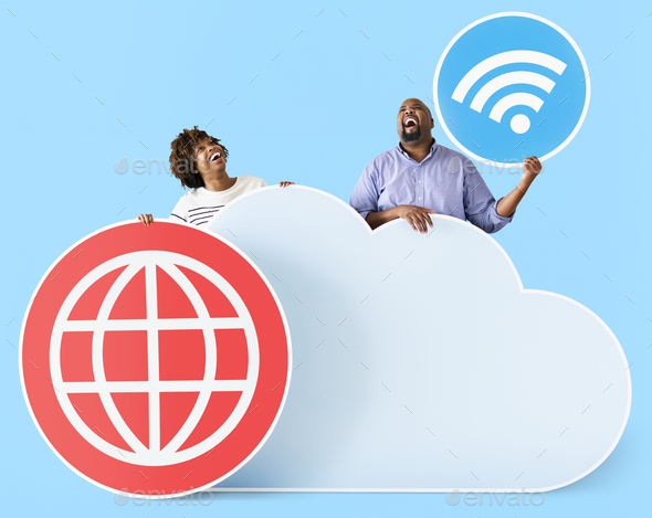 Happy people with cloud and technology icons - Stock Photo - Images