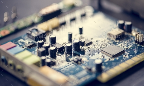 Closeup of computer motherboard - Stock Photo - Images