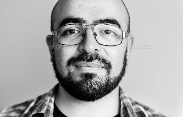 Portrait of cheerful Caucasian man - Stock Photo - Images