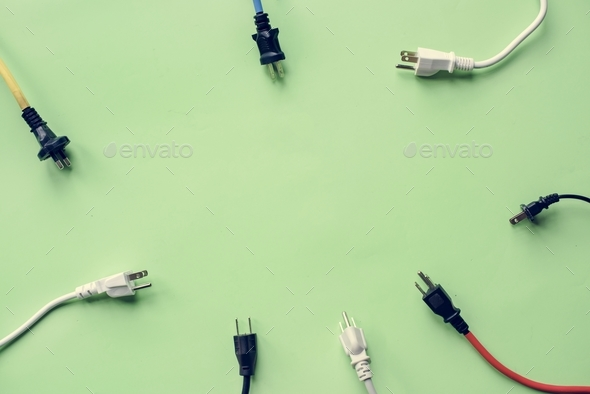 Electricity power supply plug isolated on background - Stock Photo - Images