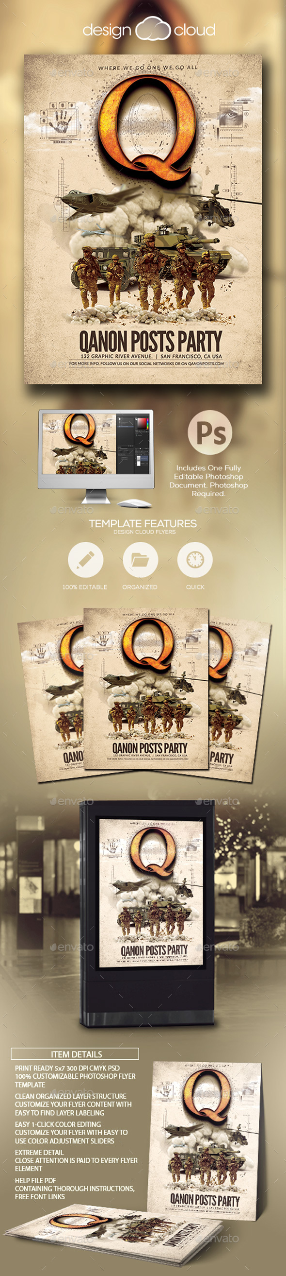 qanon posts military flyer template by design cloud graphicriver