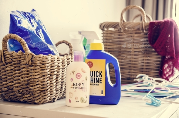 Laundry box and liquid detergents - Stock Photo - Images