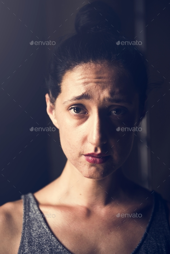 Woman with sad face expression - Stock Photo - Images