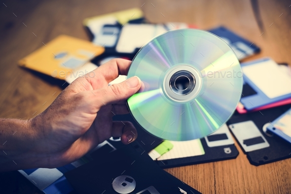 Disks and floppy disks - Stock Photo - Images