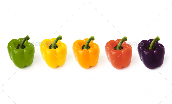 Macro shot of sweet bell pepper isolated on white background - Stock Photo - Images