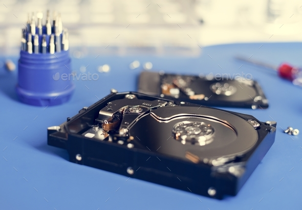 HDD open ready to repair on the table - Stock Photo - Images