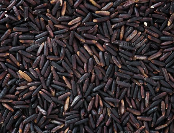 Closeup of black rice texture - Stock Photo - Images