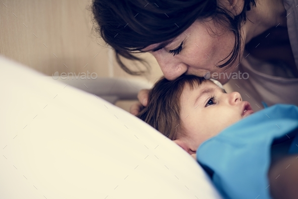Mother comforting her daughter - Stock Photo - Images