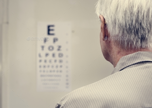An elderly patient is having sight testing - Stock Photo - Images