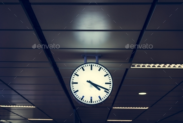 Clock on a train station - Stock Photo - Images
