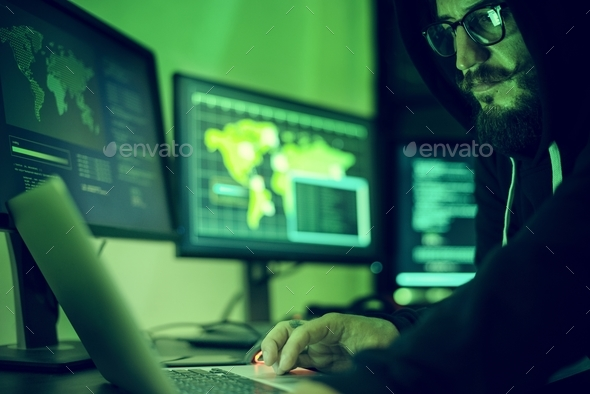 Hacker hacking data information - Stock Photo - Images