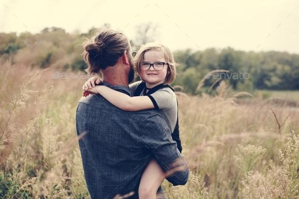 Caucasian dad having fun with daughter - Stock Photo - Images