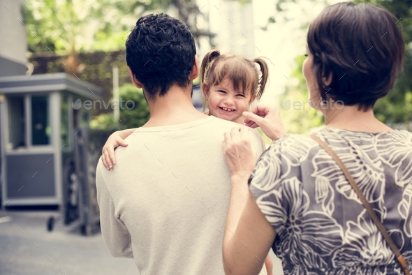Family outing holiday together - Stock Photo - Images