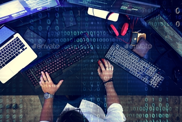 Programmer working about software cyberspace - Stock Photo - Images