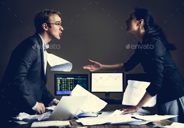 Business partner fighting while they are meeting - Stock Photo - Images