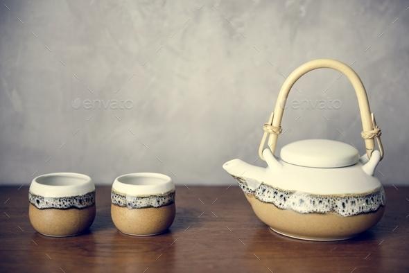 Japanese culture tea pot set - Stock Photo - Images