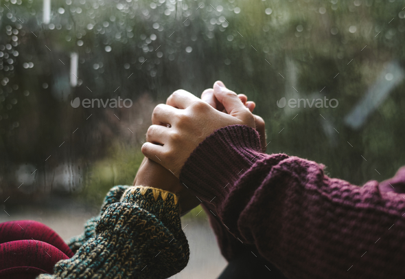Happy couple holding hands - Stock Photo - Images