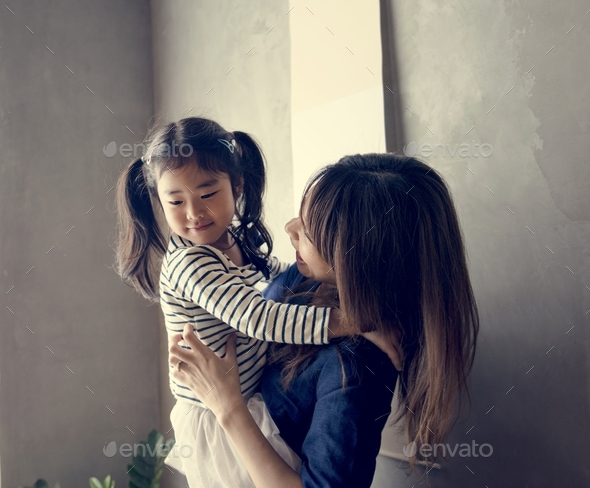 Japanese mother and daughter - Stock Photo - Images