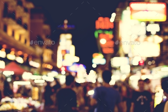 Blurred street market lights at night time - Stock Photo - Images