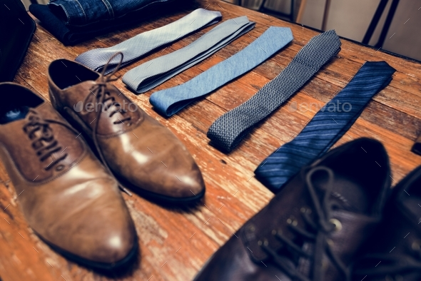 close up of shoes and neck ties - Stock Photo - Images