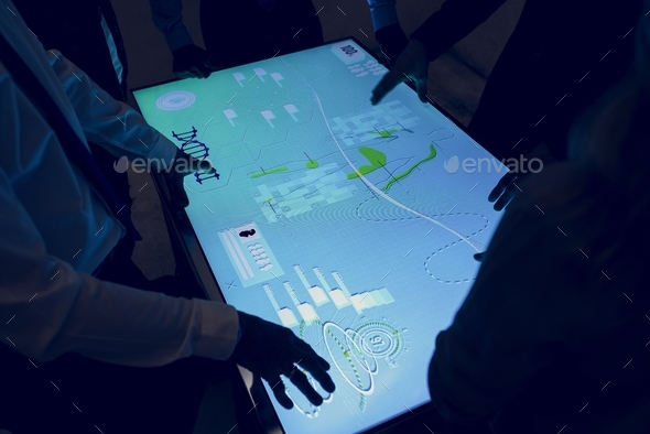Health check cyber space table screen - Stock Photo - Images