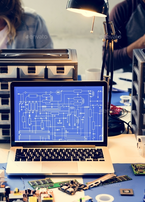 Computer laptop showing electronic circuit pattern - Stock Photo - Images