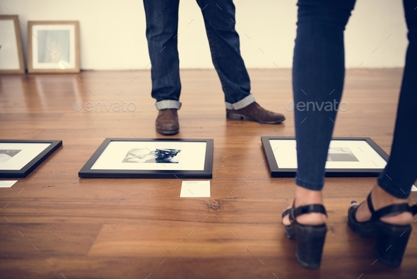 Photo frames on wooden floor - Stock Photo - Images