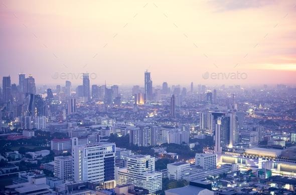View of Bangkok City at sunset - Stock Photo - Images