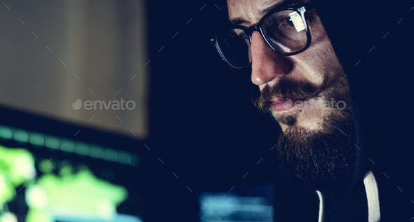 Diverse computer hacking shoot - Stock Photo - Images