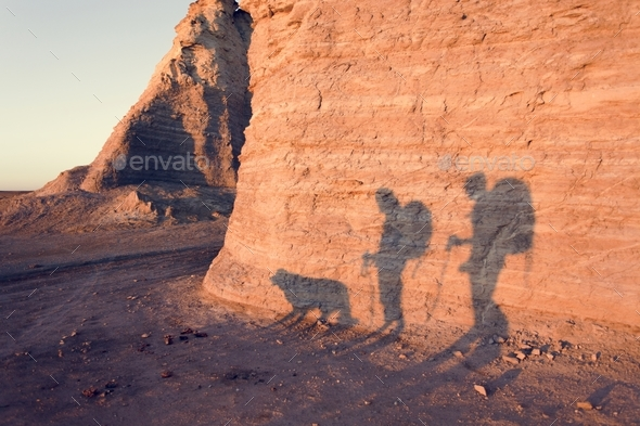 Couple backpackers traveling together - Stock Photo - Images