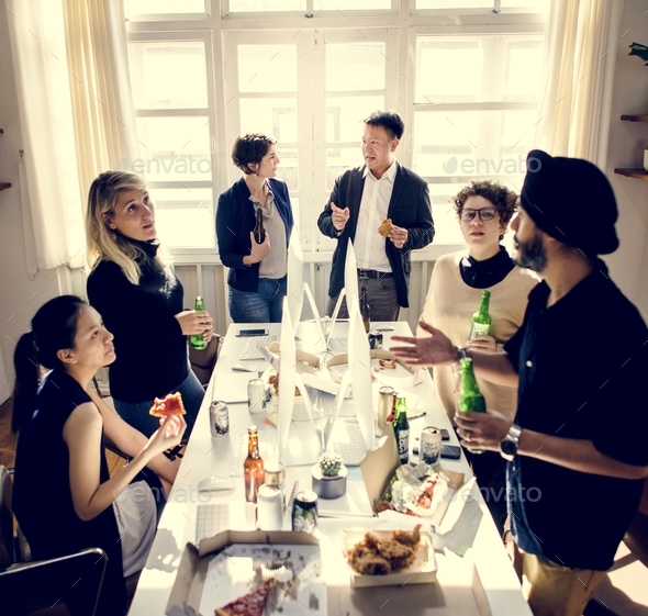 Business people celebrating their success - Stock Photo - Images