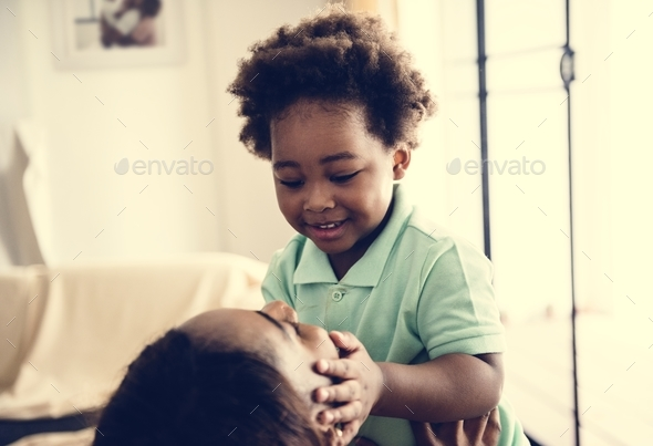 Single mom enjoying precious time with her child - Stock Photo - Images