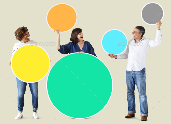 Diverse people holding colorful blank circles - Stock Photo - Images