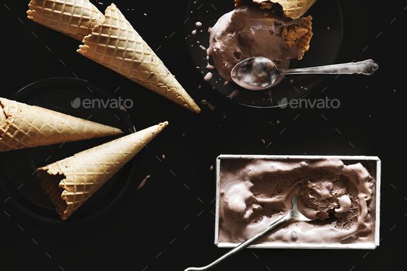 Dark chocolate ice cream and cones - Stock Photo - Images