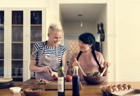 A lesbian couple is spending time together - Stock Photo - Images