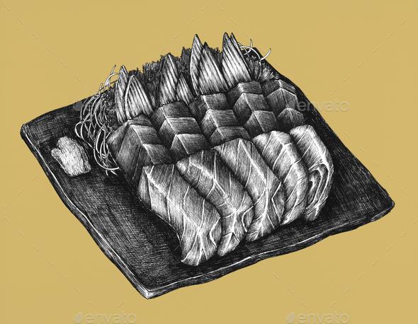 Hand drawn salmon sashimi dish - Stock Photo - Images