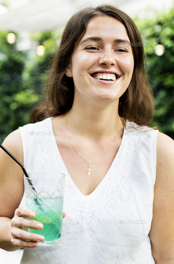 Portrait of a cheerful woman - Stock Photo - Images