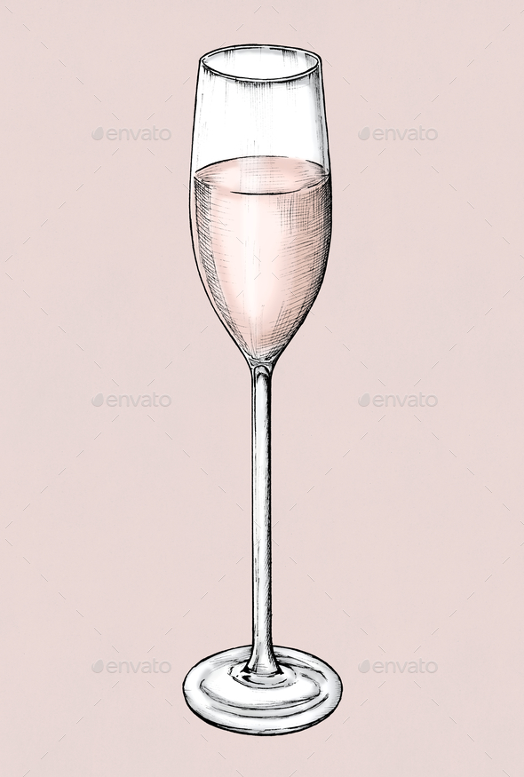 Hand drawn champagne glass - Stock Photo - Images