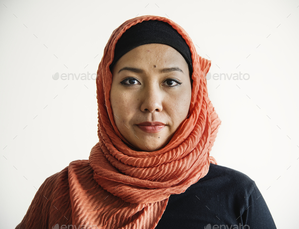 Islamic woman portrait looking at camera - Stock Photo - Images