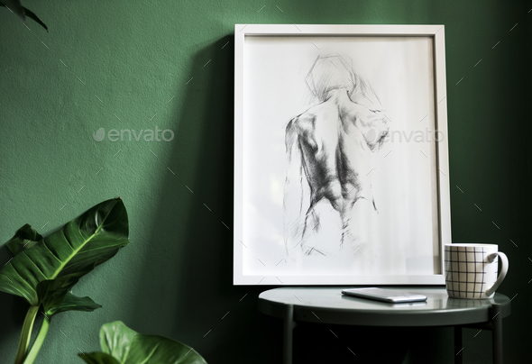 Frame on a a green wall - Stock Photo - Images
