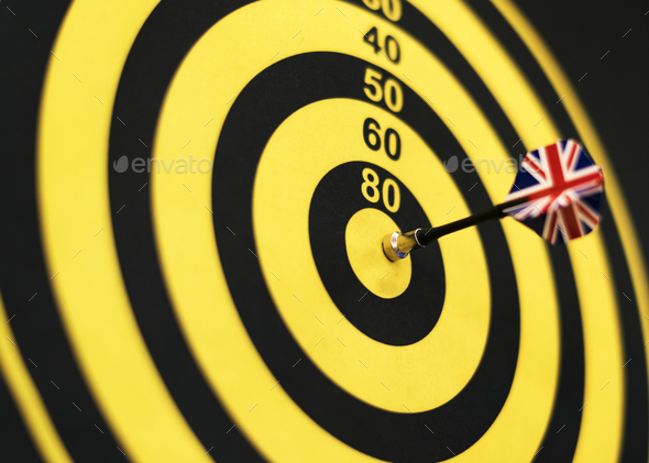 Bullseye score on a dartboard - Stock Photo - Images