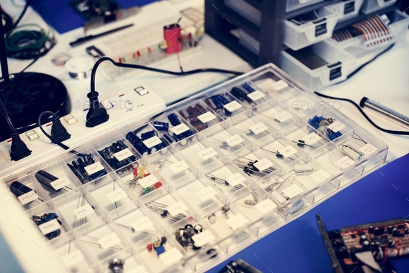 Resistors electronics component on the table - Stock Photo - Images