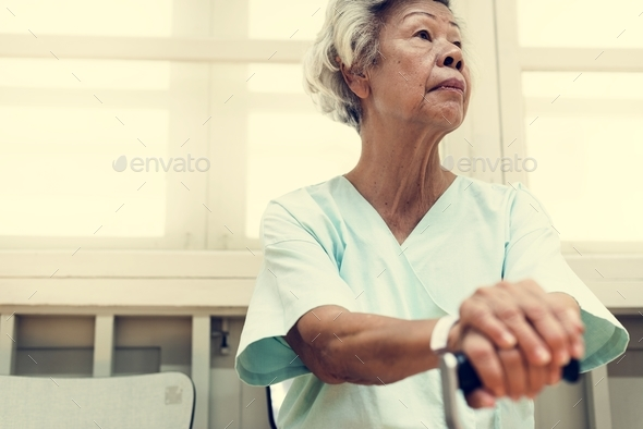 Old woman in a hospital - Stock Photo - Images