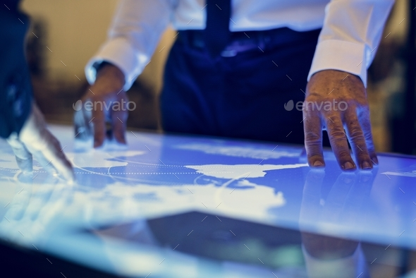 People in a cyber space meeting - Stock Photo - Images