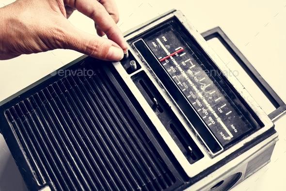 CloTuning classic retro radio transistor isolated on white - Stock Photo - Images